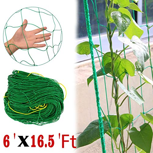 COMPATH Plant Trellis Netting Plant Support Vine Net Climbing Garden Trellis Net Garden Vine Plant Growing Flexible String Net (6' x 16.5'Ft,4