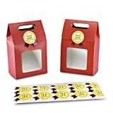 Syndecho 24pcs Tea Candy Box Cookie Bags Nuts Bakery Box +24pcs''Handmade'' Stickers with Window for Party Treat, Storage (Red)