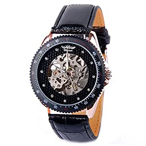 New Mens Automatic Mechanical Skeleton Watch Self Winding Black Leather Strap AMW-03