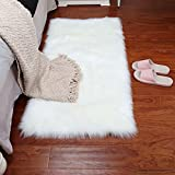 Faux Sheepskin Area Rug Fluffy Carpet Rug Home Decorative Children Play Carpet For Living & Bedroom Sofa-White 3x6 Feet