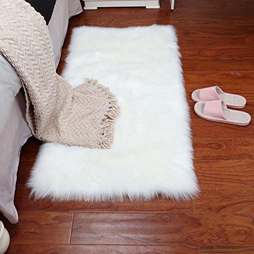 Faux Sheepskin Area Rug Fluffy Carpet Rug Home Decorative Children Play Carpet For Living & Bedroom Sofa-White 3x6 Feet by WYR