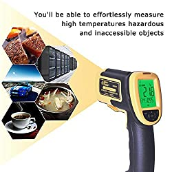 Jklnm Handheld Infrared Thermometer Helect Non-Contact Digital 200?~1850?(392?~3362?) Read Thermometer with HD Backlight LCD IR Alarm Function for Cooking Food Kitchen Oven Industry Etc.