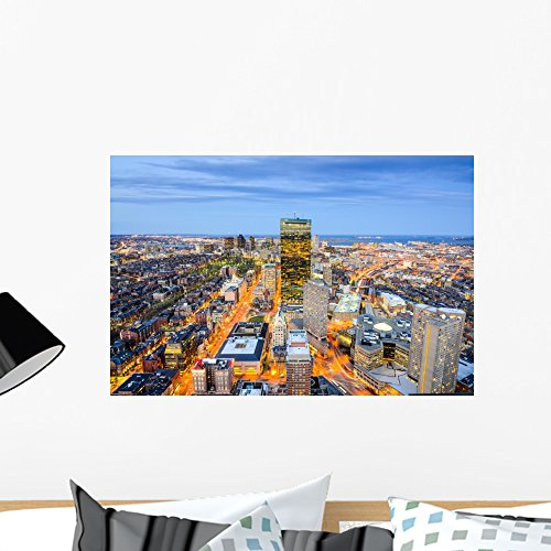 Boston Massachusetts Downtown Cityscape Wall Mural by Wallmonkeys Peel and Stick Graphic (24 in W x 16 in H) - Massachusetts Boston Downtown