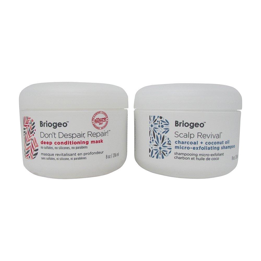 Bundle - 2 Items : Briogeo Scalp Revival Charcoal + Coconut Oil Micro-exfoliating Shampoo, 8 Oz & Briogeo Don't Despair, Repair Deep Conditioning Mask, 8 Oz