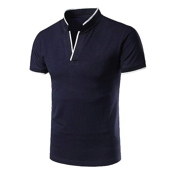 Camiseta Hombre Verano Polo Camiseta Deporte Manga Corta Color ...