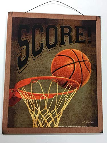 Score Basketball Hoop And Ball Boys Bedroom Sports Decor Wooden Wall Art  Sign