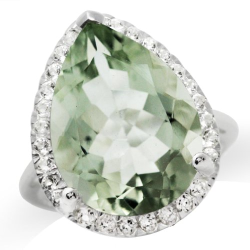 (HUGE 9.54ct. 18x13MM Natural Pear Shape Green Amethyst & Topaz 925 Sterling Silver Cocktail Ring Size 7)