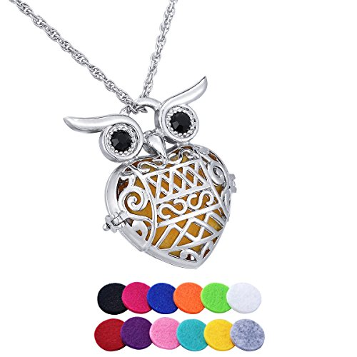 HooAMI Aromatherapy Essential Oil Diffuser Necklace - Black Rhinestone Owl Pendant Locket Jewelry,12 Refill Pads - Therapy Rhinestone