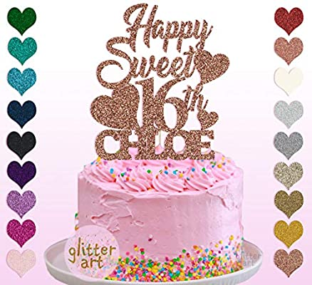 Amazing Personalised Custom Happy Sweet 16Th Chloe Party Cake Topper Name Funny Birthday Cards Online Fluifree Goldxyz