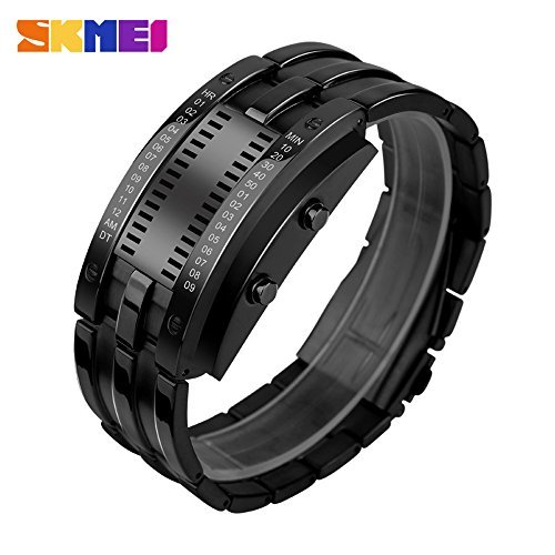 SKMEI W03 Smart Watch Pedometer Calories Clocks Digital Wristwatches Outdoor Sports Stainless Steel Watches (Black)
