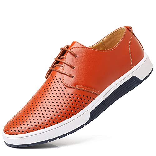 - Moodeng Men`s Causal Breathable Loafers Classic Flats Shoes Lace Up Urban Fashion Sneakers Orange
