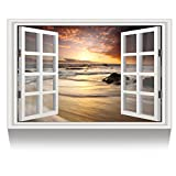 Kreative Arts - Canvas Print Wall Art Window Frame Style Landscape Picture Wall Decor Stretched Giclee Print Gallery Wrap Modern for Home Decoration Ready to Hang (24''x36'', 10.Sunrise on the Sea)