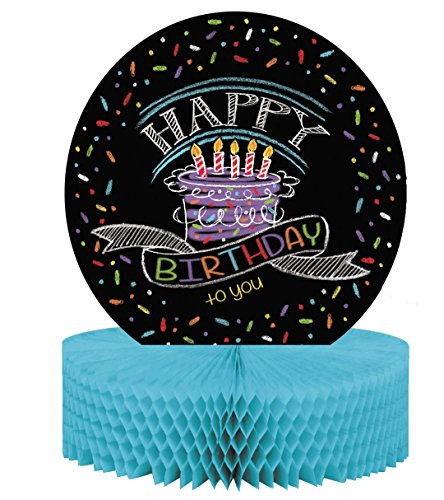 Birthday Party Table Centerpiece (Creative Converting 265971 Honeycomb with Chalk Stick Birthday Table Centerpiece, Black)