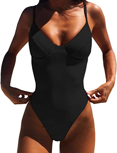 MURTIAL Womens Monokini V Neck Athletic Front Cross One Piece Swimsuits Tummy Control Swimwear S-XXL