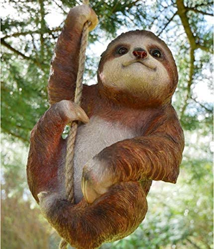 Climbing Sloth and Baby Tree Hanging Garden Ornament Statue Sculpture Decoration