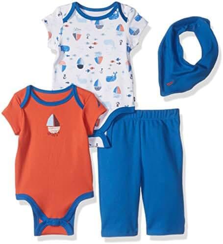 Nautica Baby Boys' Four Piece Knit Set with Hanky and Onesie