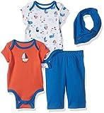 Nautica Baby Boys' Four Piece Knit Set with Hanky and Onesie, Orange, 0/3 Months