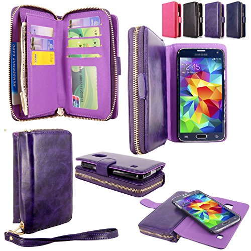 Galaxy S5 Case - Cellularvilla Pu Leather flip Wallet Bag Pouch Case with Credit Card Slots Pockets & Detachable Hard Soft Back Cover For Samsung Galaxy S5 S 5 I9600 SM-G900 AT&T / T-Mobile (Purple) (Galaxy Flip S5 Wallet Case)