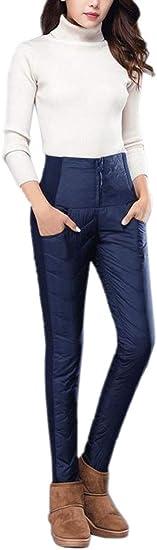 chenshiba-JP レディース厚いダウンパンツ冬暖かいハイウエストパンツ伸縮性パンツ