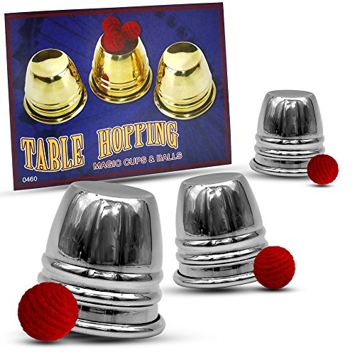 Magic Cups And Balls - Magic Makers Chrome Table Hopping Mini Cups and Balls Includes Magic Training Video Guide