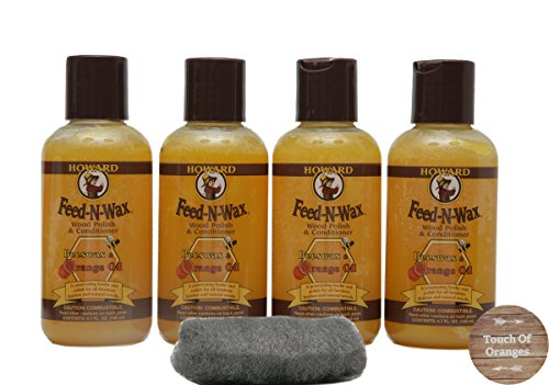 (Howard Feed N Wax 4oz Beeswax, Preserve and Protect your Wood, Great Gifts. 4 x 4.7 oz Bottles)