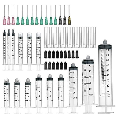 15 Pack syringe - 100ml,60ml,30ml,10ml,5ml,3ml,1ml Syringes with Blunt Tip Needles and Storage Caps Great for Refilling and Measuring E-Liquids, E-cigs, E-juice, Wood Glue, Glues, Adhesives, Light Oil by Agemore