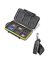 BEEWAY Estuche 24 tarjetas SD SDHC SDXC y Micro SD TF resistente a los golpes e impermeable, con bolsa de almacenamiento y mosquetón