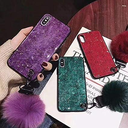 Vert 02, iPhone 6 Plus, iPhone 6S Plus Boule Fourrure Luxe Caoutchouc Souple Paillettes Diamant Bling Coque avec Support Gonflable//Dragonne pour Fille SevenPanda /Étui pour iPhone 6 Plus