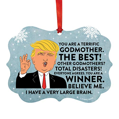 (Andaz Press Funny President Donald Trump Fancy Frame Keepsake Christmas Ornament Gag Gift, Terrific Godmother, 1-Pack, Metal Holiday Present Ideas Republican Political Satire for Family)
