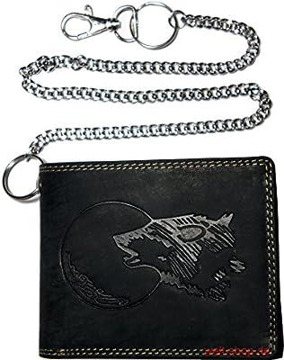 00b8928b5b11f Hochwertige Geldbörse Geldbeutel Portemonnaie Büffel Wild Leder Wolf Mond  geprägt mit Kette
