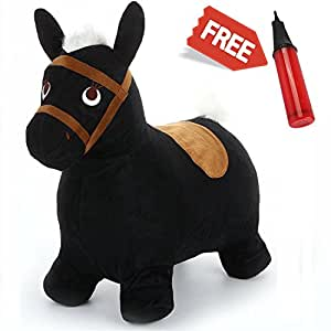 Black Hopping Horse, Outdoors Ride On Bouncy Animal Play Toys, Inflatable Hopper Plush Covered with Pump, Activities Gift For 2, 3, 4, 5 Year Old Kids Toddlers Boys Girls - iPlay, iLearn