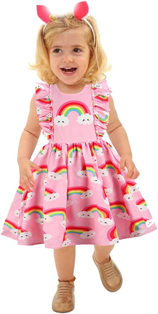Children print cotton dress flutter sleeves ruffle pinafore dress blue printed dress girls toddler baby dress crossover dress easy fastening