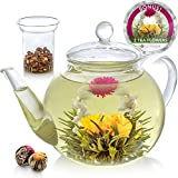 Teabloom Teapot Gift Set – Stovetop Safe Glass Teapot with 2 Blooming Teas & Removable Glass...