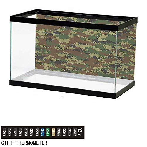 wwwhsl Aquarium Background,Camo,Grunge Graphic Camouflage Summer Theme Armed Forces Uniform Inspired Dark,Green Pale Green Brown Fish Tank Backdrop 36