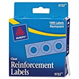 Avery Clear Self-Adhesive Reinforcement Labels, 0.25 inch Round, Pack of 1000 (5722)