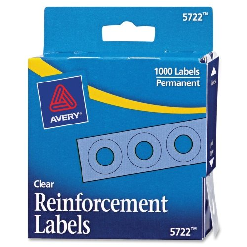 Reinforcing Strips (Avery Clear Self-Adhesive Reinforcement Labels, Round, Pack of 1000 (5722))