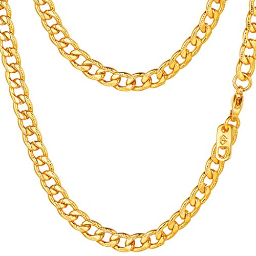 PROSTEEL Miami Cuban Link Necklace 18K Gold Plated Hip Hop 5mm Women Chain Necklace Men Jewelry Gift
