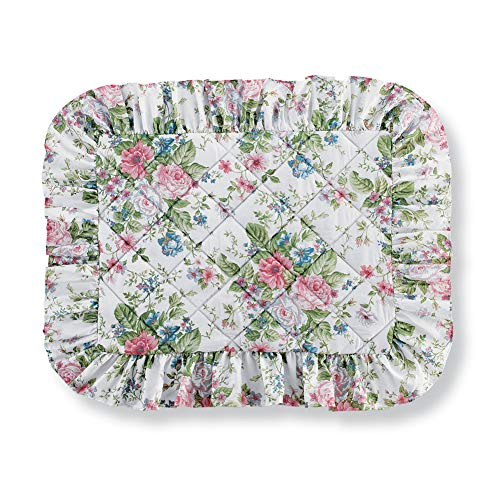 (Collections Etc Floral Bouquet with Shades of Pink, Blue, and Sage Quilted Pillow Sham with Ruffled Trim - Seasonal Bedding, Sham)