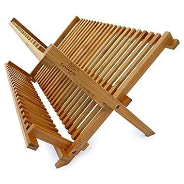 Culina Bamboo Dish Rack, Fold-able, Compact Fold size 18 x 11