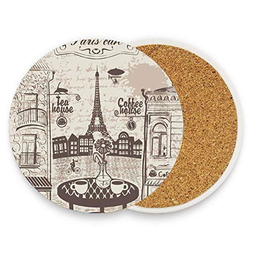 (GTdgstdsc Parisian Cafe Ceramic Coaster Absorbent Coaster with Protective Cork Base Coaster for Drinks Pack Of 1)