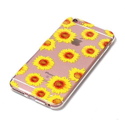 iPhone 6 6S Coque chrysanthème Premium Gel TPU Souple Silicone Transparent Clair Bumper Protection Housse Arrière Étui Pour Apple iPhone 6 6S + Deux cadeau