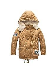 Pretty Tiger Children's Casual Pocket Zip With Velvet Hooded Boy's Coat