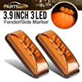 Partsam 2PCS 3 Leds Truck Trailer Front Rear LED Side Marker Lights indicator Lamp Sealed & Waterproof Surface Mounted Installation Amber 3.9""