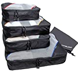 Packing Cubes by Motodori - Value Travel Organizers - 4pc Set + Shoe Bag + Extra Zipper Pulls
