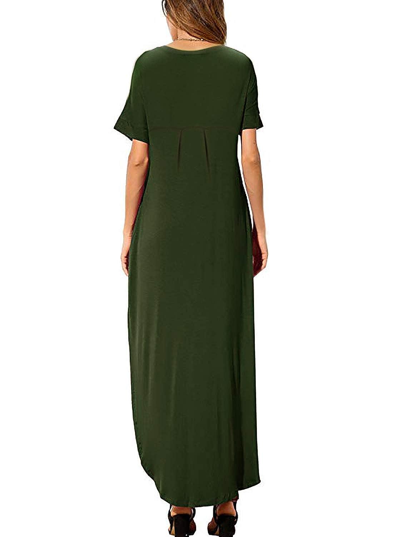 54b4c6dd7303bd Women's Summer Maxi Dress Casual Loose Pockets Long Dress Short Sleeve  Split at Amazon Women's Clothing store: