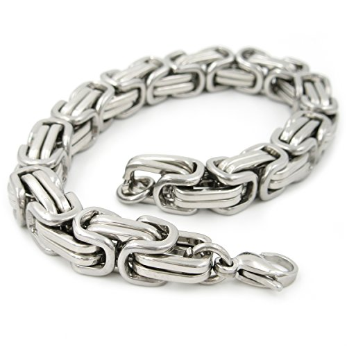 Stainless Steel Square Byzantine Chain Men Bracelet 9mm 8 inch (9 Mm Byzantine Bracelet)