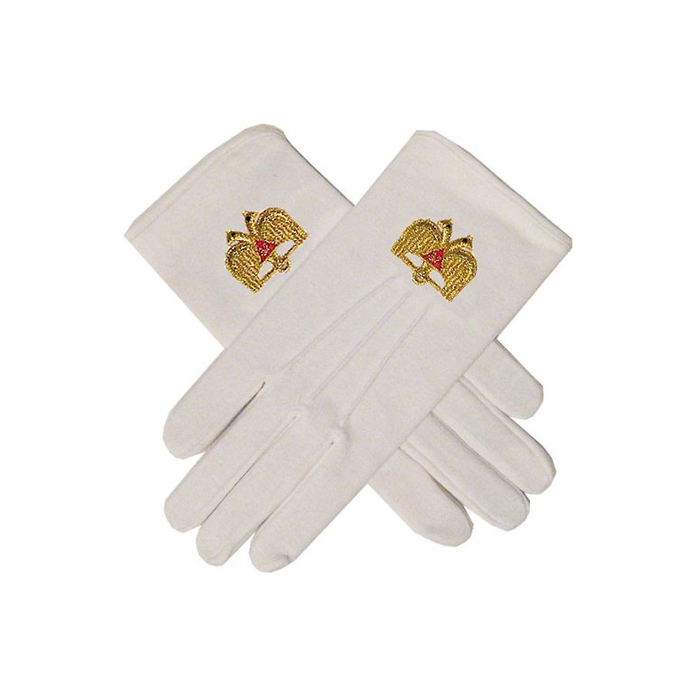 Masonic 32nd Degree Double Headed Eagle Scottish Rite White Hand Embroidered Gloves