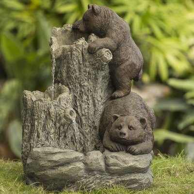 Jeco Bears Indoor/Outdoor Fountain - Durable polyresin & fiberglass construction Weatherproof Pump included - patio, outdoor-decor, fountains - 512oqZUQcfL. SS400  -