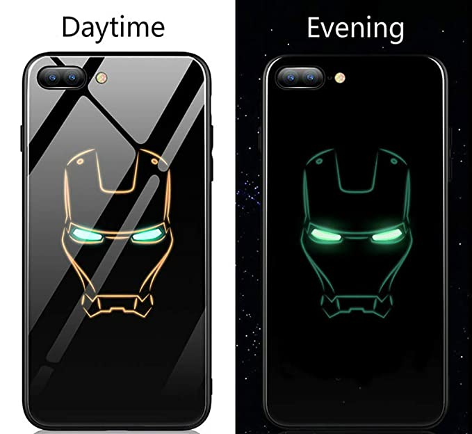 bff124b333630 Iron Hero Man Luminous Fashion Luxury Tempered Glass Hybrid Case iPhone X 7  8 6 6s Plus (Style 3, iPhone X)