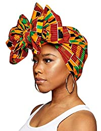 "Traditional African Print Wax Kente Head Wrap Extra Long 72x22"" Scarf Turban Tie"